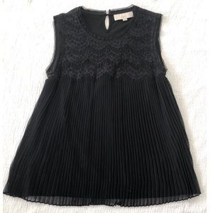 LOFT black lace and pleated top - size M